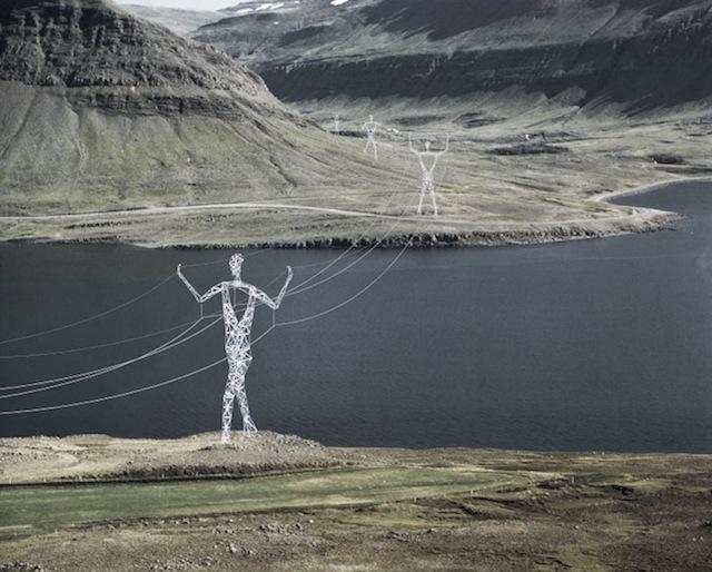 Postes de la electricidad en Islandia sostenibles con el ambiente