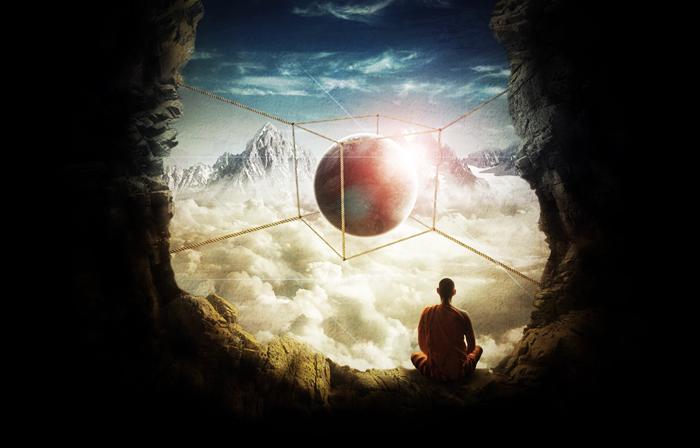 meditación en la montaña