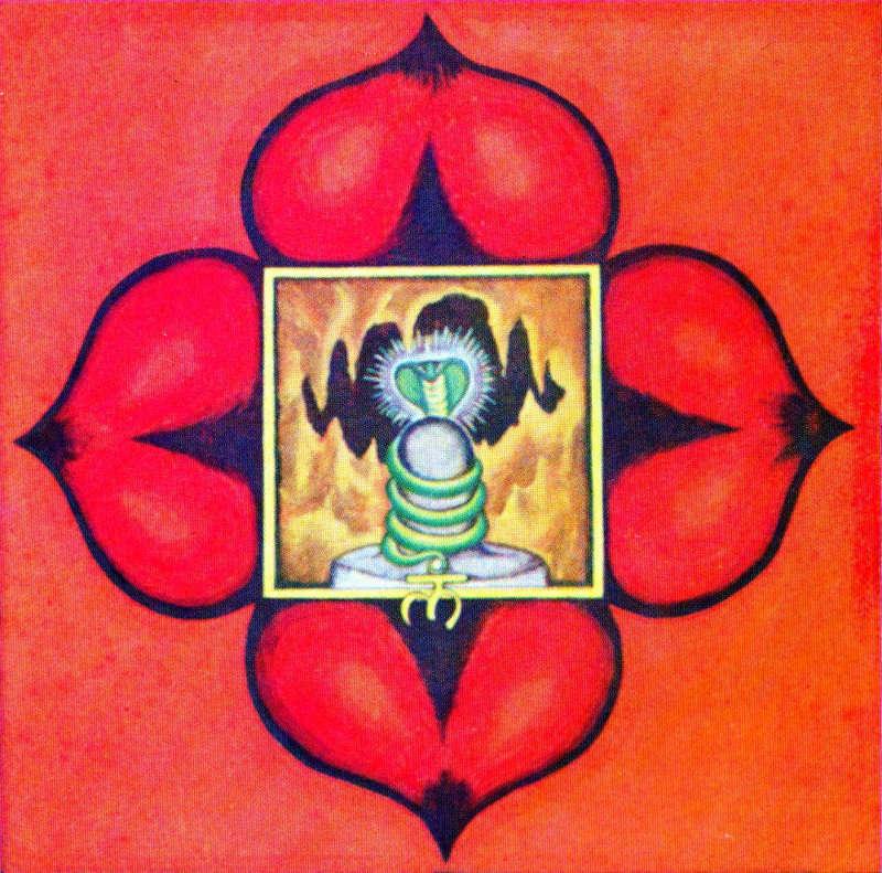 Muladhara Chakra. La serpiente que reposa enroscada en el chakra representa la energía kundalini.